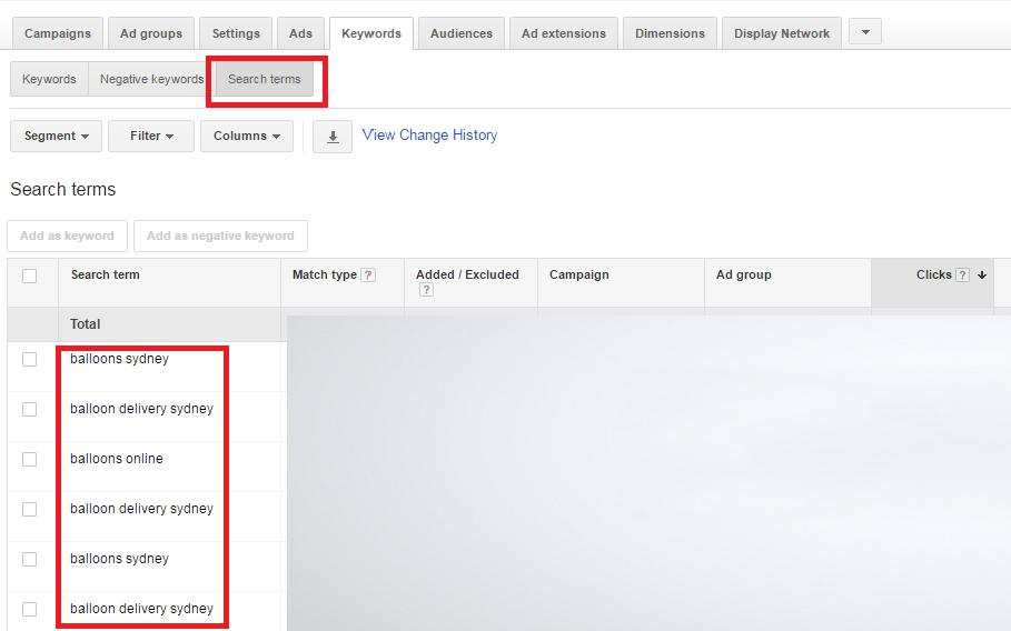 Google AdWords Search terms report Negative Keywords
